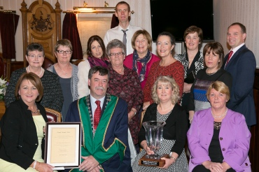 Pictured at a mayoral reception for South Tipperary Cancer Support Centre seated, Theresa Irwin, Mayor Pat English, Anne Kennedy, Carol English, back, Helen Harris, Marie Murray, Linda Purcell, Kathleen O Keeffe,Michael Purcell, Eilis Collins, Frances Butler, Breda English, Con Traas, l Margaret Crosse.